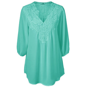V Neck Three Quarter Sleeve Lace Patchwork Chiffon Blouse 9849