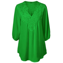 Load image into Gallery viewer, V Neck Three Quarter Sleeve Lace Patchwork Chiffon Blouse 9849