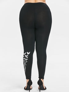 Bat Print Women Plus Size Leggings 6106