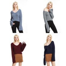 Load image into Gallery viewer, Deep V Neck Short Knitwear Flared Sleeve Sweater 9729