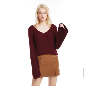 Deep V Neck Short Knitwear Flared Sleeve Sweater 9729