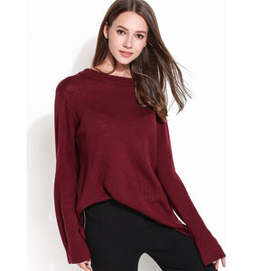Crew Neck Bowknot Flared Sleeves Sweaters Knitwear Women 4616