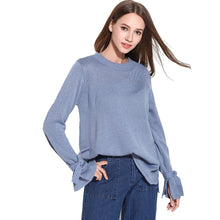 Load image into Gallery viewer, Crew Neck Bowknot Flared Sleeves Sweaters Knitwear Women 4616