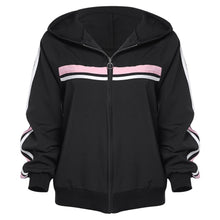 Load image into Gallery viewer, Striped Zipper Up Long Sleeve Hoodie Women Jacket 9761