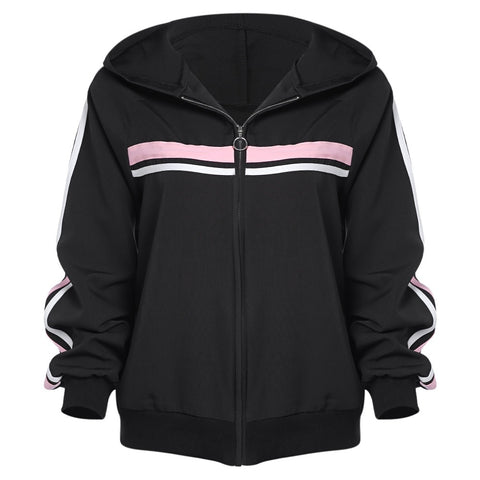 Striped Zipper Up Long Sleeve Hoodie Women Jacket 9761