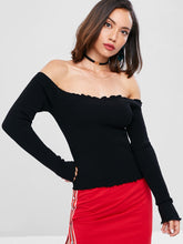 Load image into Gallery viewer, Slim Fit Lettuce Off The Shoulder Ribbed Women Sweater 9260