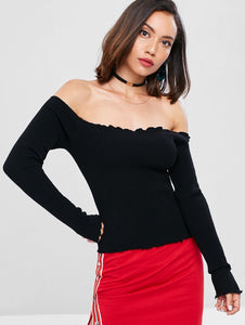 Slim Fit Lettuce Off The Shoulder Ribbed Women Sweater 9260