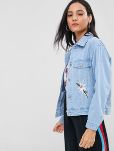 Shirt Collar Floral Embroidered Button Up Women Denim Jacket 6094