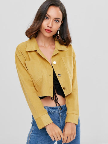 Turn-down Collar Button Up Pocket Short Jacket for Women 7441