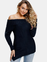 Load image into Gallery viewer, Asymmetrical Off The Shoulder Black Long Sleeved Sweater 5235