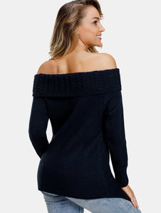 Asymmetrical Off The Shoulder Black Long Sleeved Sweater 5235