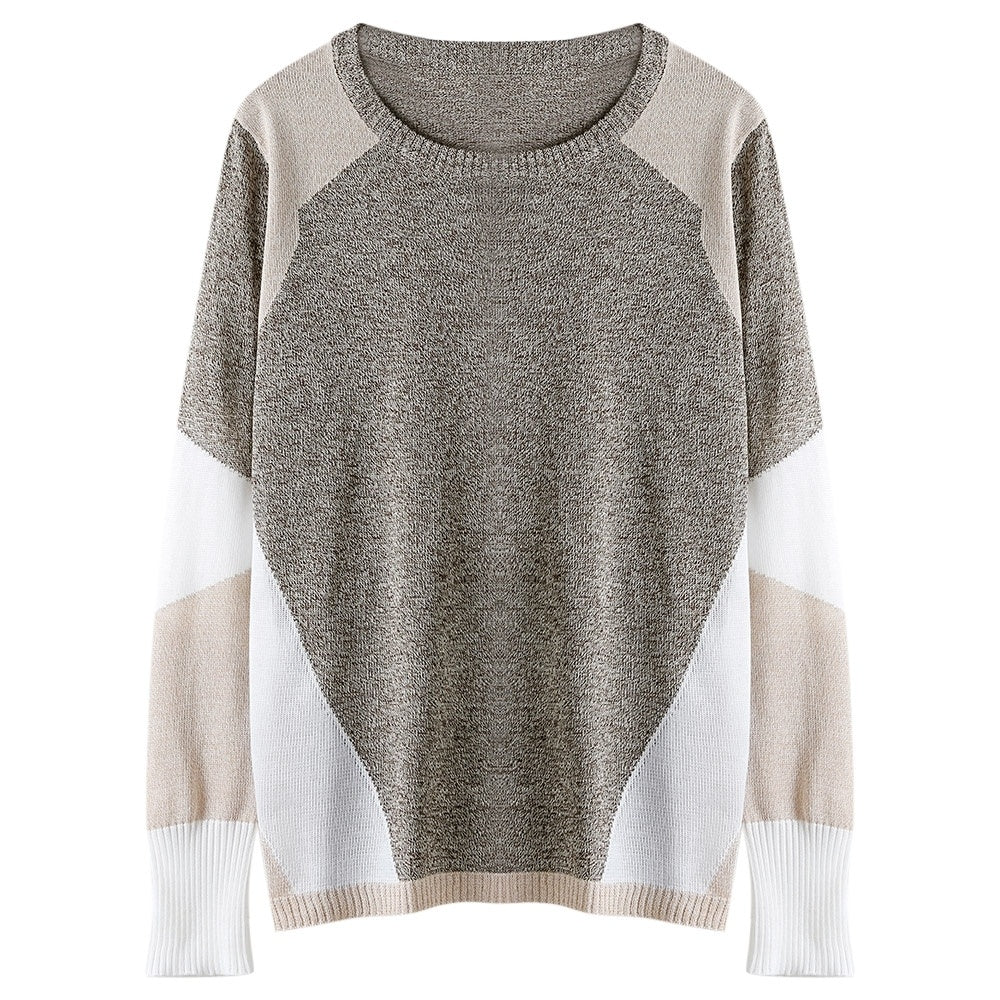 Crew Collar Long Sleeves Color Block Women Pullover Knitted Sweater 1575
