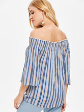 Load image into Gallery viewer, Off the Shoulder Striped Long Sleeved Blouse 5505