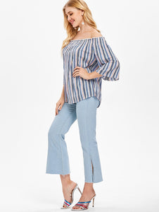 Off the Shoulder Striped Long Sleeved Blouse 5505