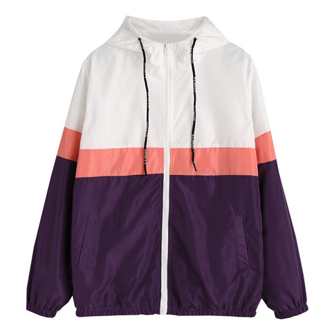 Color Block Zipper Up Long Sleeve Hooded Jacket with Pocket 1740