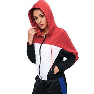 Long Sleeved Color Block Hooded Sport Jacket with Pocket 9170