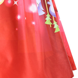 Color Blocking Moon Star Printed Sleeveless Plus Size Christmas Dress 5263