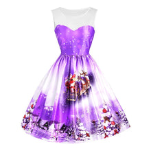 Load image into Gallery viewer, Christmas Outfit Sled Tree Mesh Panel Sleeveless Dress 6716