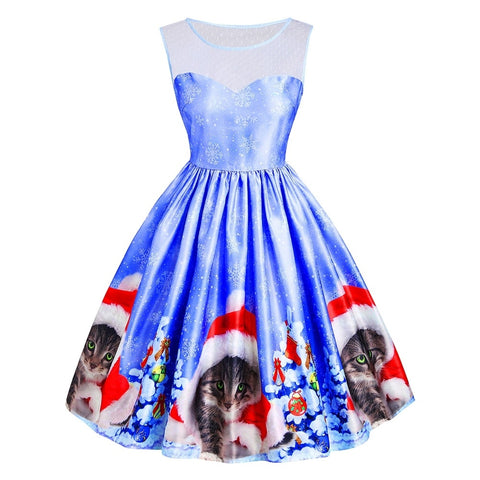 Cat Snowflake Printed Mesh Panel Sleeveless Christmas Dress 5563