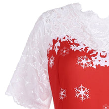 Load image into Gallery viewer, Snowflake Santa Claus Short Sleeves Christmas Dress 6356