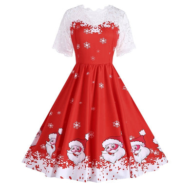 Snowflake Santa Claus Short Sleeves Christmas Dress 6356