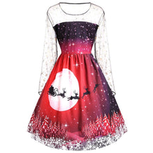 Load image into Gallery viewer, Christmas Reindeer Print Long Sleeves Mesh Insert Dress 4337