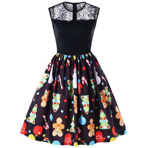 Vintage Christmas Print Lace Panel Sleeveless Flare Women Dress 2312