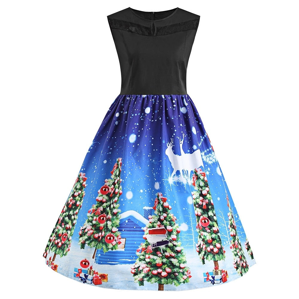 Color Blocking Tree Printed Lace Panel Christmas Dress 4944