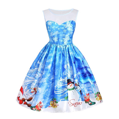 Snowman Snowflake Printed Sleeveless Mesh Panel Christmas Dress 1781