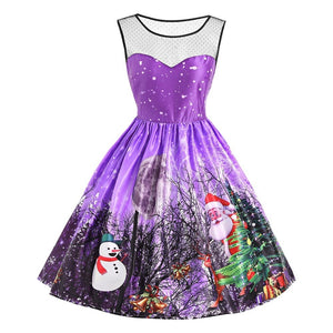 Round Collar Santa Claus Snowman Printed Sleeveless Mesh Panel Christmas Dress 2336