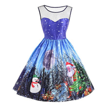 Load image into Gallery viewer, Round Collar Santa Claus Snowman Printed Sleeveless Mesh Panel Christmas Dress 2336