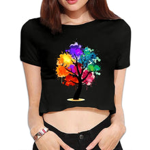 Load image into Gallery viewer, Crew Neck Short-sleeved Girls Sexy Trees Crop Tops T-shirts Doodle Hand Painted 3511