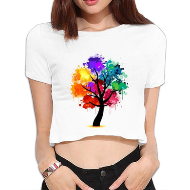 Crew Neck Short-sleeved Girls Sexy Trees Crop Tops T-shirts Doodle Hand Painted 3511
