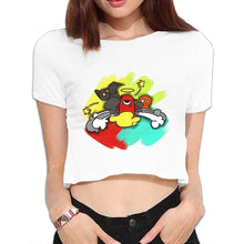 Load image into Gallery viewer, Crew Neck Short-sleeved Women Sexy Little Monsters Crop Tops T Shirt Doodle Art 7112