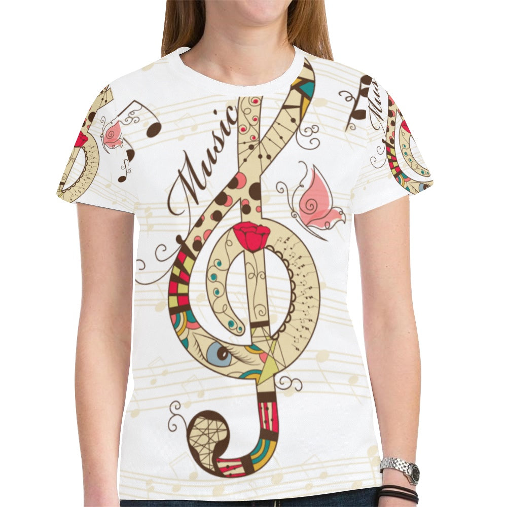 Music Notes Novelty Graphic Printed Crew Neck Short Sleeve Women T Shirt Tops Teacher Gift 6667
