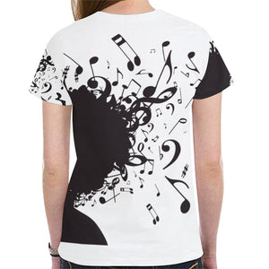 Blacktone Music Notes Novelty Graphic Printed Crew Neck Short Sleeve Women T Shirt Tops Teacher Gift 5059