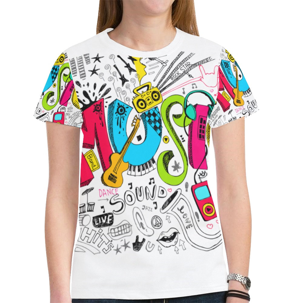 1c5839bbc Dating Music Notes Novelty Graphic Printed Crew Neck Short Sleeve Wome –  Shoeu