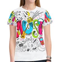 Load image into Gallery viewer, Dating Music Notes Novelty Graphic Printed Crew Neck Short Sleeve Women T Shirt Tops Teacher Gift 3026
