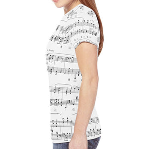 Musical Notes Novelty Graphic Printed Crew Neck Short Sleeve Women T Shirt Tops Teacher Gift 9726