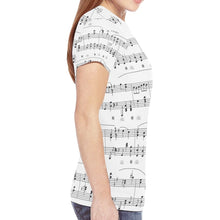 Load image into Gallery viewer, Musical Notes Novelty Graphic Printed Crew Neck Short Sleeve Women T Shirt Tops Teacher Gift 9726