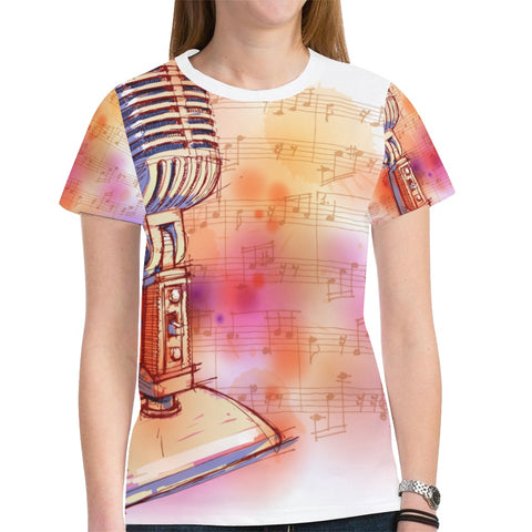 Microphone Musical Note Novelty Graphic Printed Crew Neck Short Sleeve Women T Shirt Tops Teacher Gift 2943