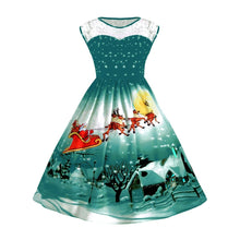 Load image into Gallery viewer, Big Size Lace Panel Christmas Snow Cabin Printed Ball Dress 3211