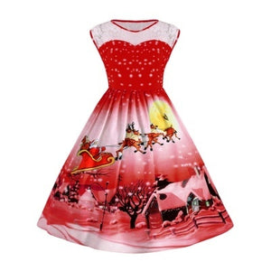 Big Size Lace Panel Christmas Snow Cabin Printed Ball Dress 3211