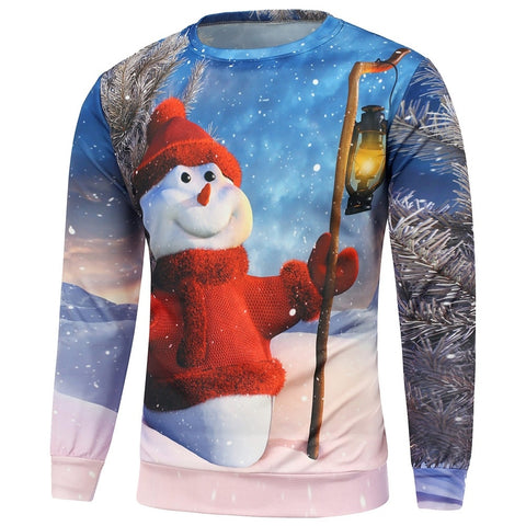 Regular Fit Snowman Printed Long Sleeve Christmas Men Sweatshirt 9440