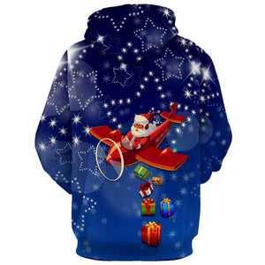 Star Santa Clause Print Christmas Blue Men Long Sleeved Hoodie 4026