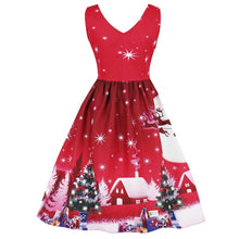 Load image into Gallery viewer, Christmas Tree Moon Snowman Printed Plus Size V Neck Dress 7753