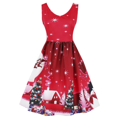 Christmas Tree Moon Snowman Printed Plus Size V Neck Dress 7753