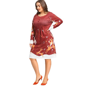 Christmas Elk Printed Plus Size Long Sleeve Women Dress 4559