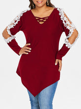 Load image into Gallery viewer, Plus Size Lace Hollow Out Lattice Long Sleeve Women Top 4429