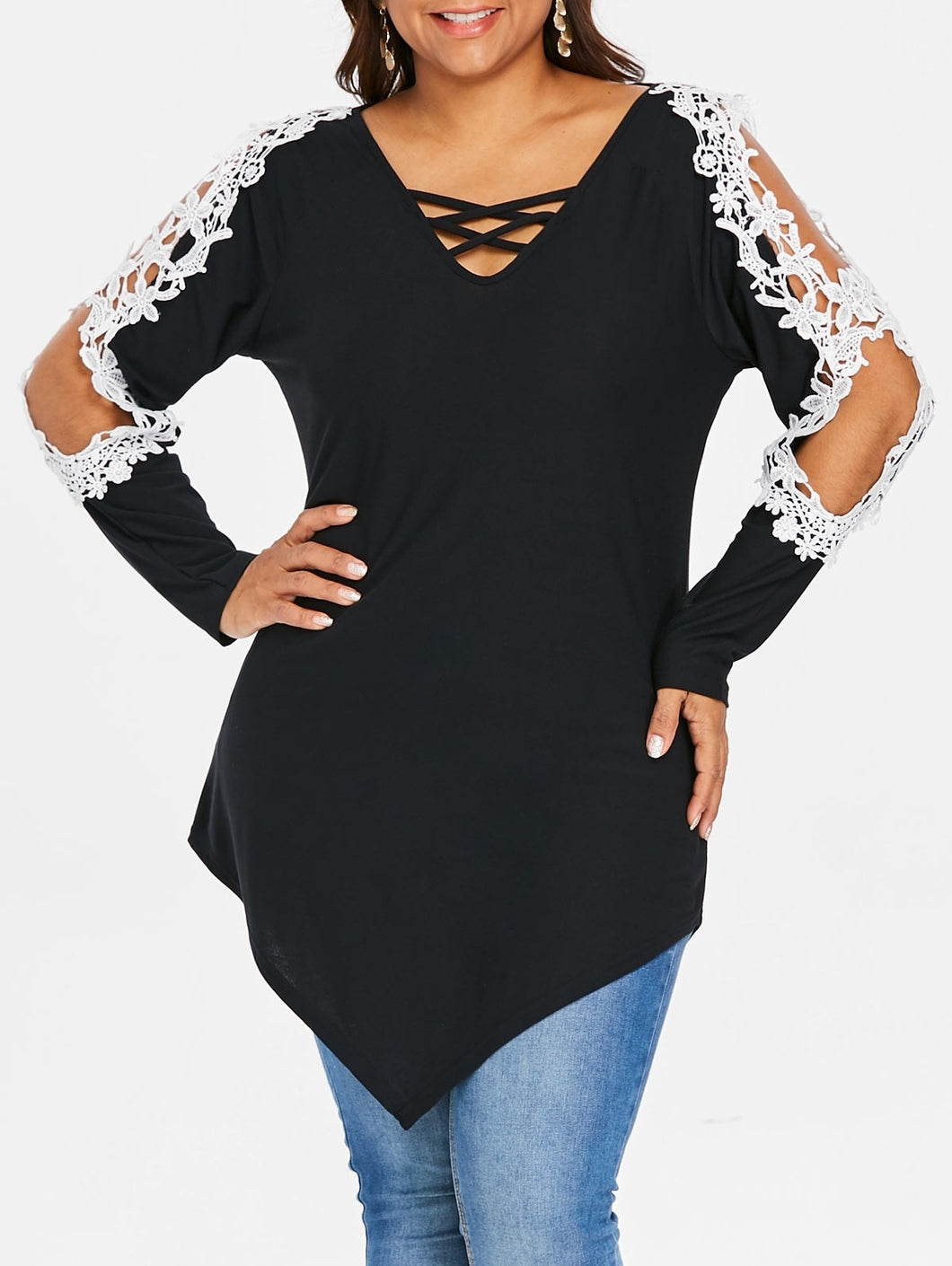 Plus Size Lace Hollow Out Lattice Long Sleeve Women Top 4429